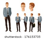 businessman in various poses | Shutterstock .eps vector #176153735