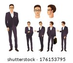 businessman in various poses | Shutterstock .eps vector #176153795