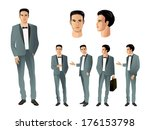 businessman in various poses | Shutterstock .eps vector #176153798