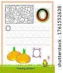worksheet for tracing letters.... | Shutterstock .eps vector #1761552638