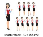 business woman in various poses | Shutterstock .eps vector #176156192