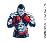 Muscular Boxer Isolated On...
