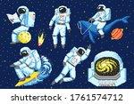 pixel art astronaut. spaceman 8 ... | Shutterstock .eps vector #1761574712