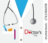 medical coat with stethoscope... | Shutterstock .eps vector #1761586058