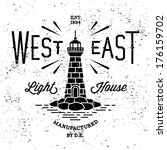 "vintage label ""west east lighthouse"""