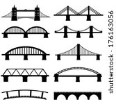 Stock vector bridge icons set vector 176163056