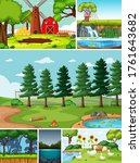 four different scenes in nature ... | Shutterstock .eps vector #1761643682