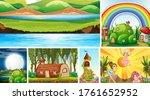 six different scene of fantasy... | Shutterstock .eps vector #1761652952
