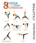 infographic of  yoga poses for... | Shutterstock .eps vector #1761679508