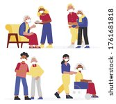 social workers taking care... | Shutterstock .eps vector #1761681818
