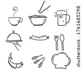hand drawn food and drinks icon.... | Shutterstock .eps vector #1761685298