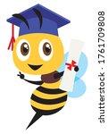 cartoon cute happy bee mascot... | Shutterstock .eps vector #1761709808