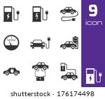 vector black electric car icons ... | Shutterstock .eps vector #176174498