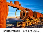 Small photo of Rusty railway train view.. Rusty train. Railway train in rust