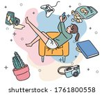 a woman is sitting comfortably...   Shutterstock .eps vector #1761800558