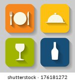 modern flat food icon set for... | Shutterstock .eps vector #176181272