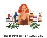 pensive woman choosing organic... | Shutterstock .eps vector #1761827852
