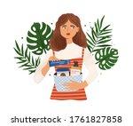 portrait of woman holding...   Shutterstock .eps vector #1761827858