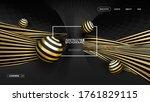 3d gold on black vector... | Shutterstock .eps vector #1761829115
