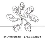 one single line drawing group... | Shutterstock .eps vector #1761832895