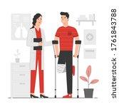 man with leg injury talking...   Shutterstock .eps vector #1761843788