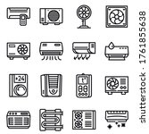Conditioner Icons Set. Outline...