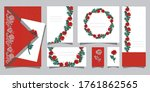 set of postcards with beautiful ... | Shutterstock .eps vector #1761862565