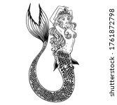 Beautiful Mermaid With. Hand...