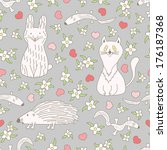 funny animals seamless pattern. ... | Shutterstock . vector #176187368