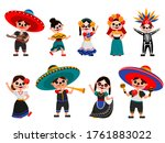 mexican skeleton party set.... | Shutterstock .eps vector #1761883022