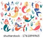 marine mermaids. cute mermaid... | Shutterstock .eps vector #1761894965