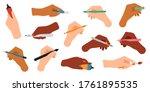 writing tools in hand. pen ... | Shutterstock .eps vector #1761895535