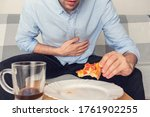A Man Gorged On Pizza  Male...