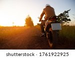 motorbike riding on road with... | Shutterstock . vector #1761922925