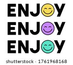 happy slogan t shirt print... | Shutterstock .eps vector #1761968168