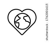 heart  earth icon. simple line  ...
