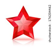 Red Crystal Star Isolated On...