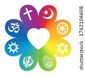 world religions. symbols on a... | Shutterstock .eps vector #1762104608