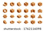 wooden cubes isometric for... | Shutterstock .eps vector #1762116098