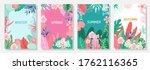 vector set floral background ... | Shutterstock .eps vector #1762116365