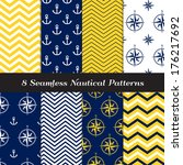 Nautical Navy Blue, Yellow and White Chevron, Anchors and Compasses Seamless Patterns. Navy Yellow Nautical Backgrounds #1. Pattern Swatches made with Global Colors. - stock vector