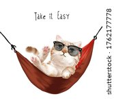 take it easy slogan with cute... | Shutterstock .eps vector #1762177778