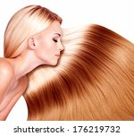 beautiful woman with long hair... | Shutterstock . vector #176219732