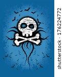 spooky skull background | Shutterstock .eps vector #176224772