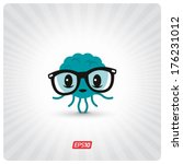 geek brain character | Shutterstock .eps vector #176231012