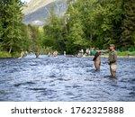 Fishermen Fishing For Salmon On ...
