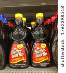 Small photo of San Leandro, CA - June 23, 2020: Mrs Butterworths is an American brand of syrups and pancake mixes owned by ConAgra Foods. The syrups come in distinctive bottles shaped in the form of a matronly woman