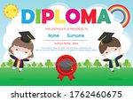 certificates kindergarten and...   Shutterstock .eps vector #1762460675