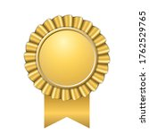 award ribbon gold icon. golden... | Shutterstock . vector #1762529765