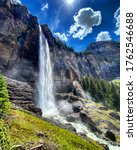 Bridal Veil falls waterfall in Tulluride, Colorado. - stock photo